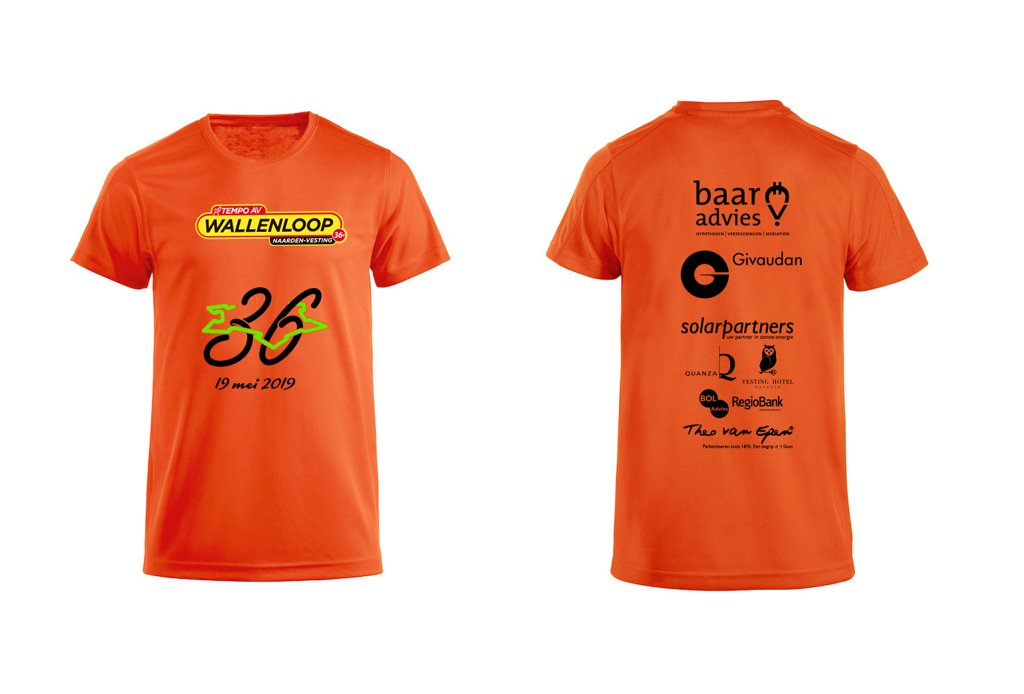 Oranje tempo shirt.